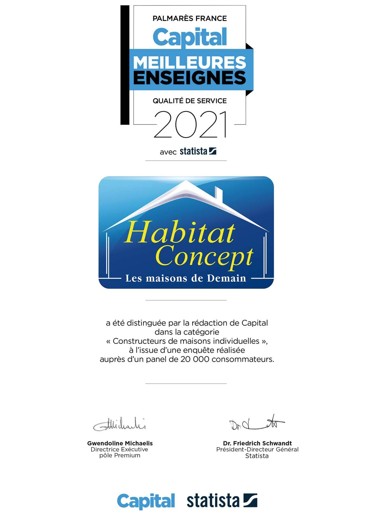 Certificat Habitat Concept Meilleure enseigne 2021 catégorie constructeur de maisons